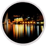 Lake At Night Round Beach Towel