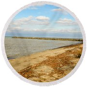 Lake Ontario Shoreline Round Beach Towel