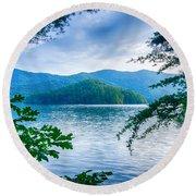 Lake Santeetlah In Great Smoky Mountains North Carolina Round Beach Towel