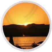 Lake Sunset Round Beach Towel