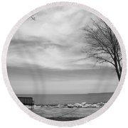 Lake Tree And Park Bench Round Beach Towel