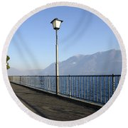Lakefront With Mountain Round Beach Towel