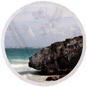 Large Boulder On A Caribbean Beach Round Beach Towel