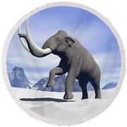 Large Mammoth Walking Slowly Round Beach Towel by Elena Duvernay