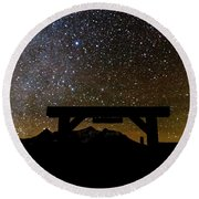 Last Dollar Gate And Milky Way Starry Round Beach Towel