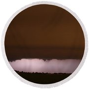Late Night Nebraska Shelf Cloud Round Beach Towel