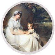 Lawrence's Lady Mary Templetown And Her Eldest Son Round Beach Towel