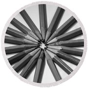 Lead Pencils Isolated On White Round Beach Towel