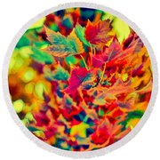 Leaves In Abstract Round Beach Towel