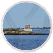 Ledge Lighthouse  Round Beach Towel