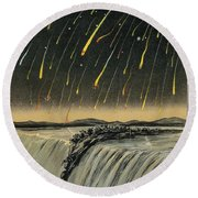 Leonid Meteor Shower Of 1833 Round Beach Towel