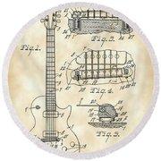 Les Paul Guitar Patent 1953 - Vintage Round Beach Towel