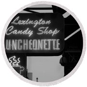 Lexington Candy Shop In Black And White Round Beach Towel