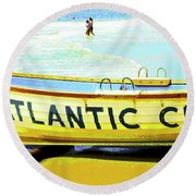 Lifeboat Atlantic City New Jersey Round Beach Towel