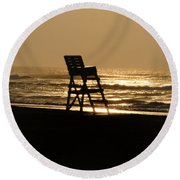 Lifeguard Chair In The Morning Round Beach Towel