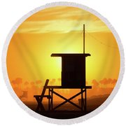 Lifeguard Tower On The Beach, Newport Round Beach Towel