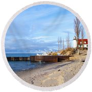 Light And Beach Round Beach Towel