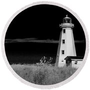 Lighthouse At North Cape On Pei Round Beach Towel