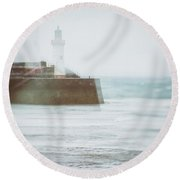 Lighthouse Round Beach Towel by Amanda Elwell