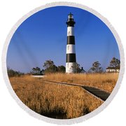 Lighthouse In A Field, Bodie Island Round Beach Towel