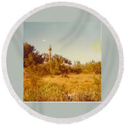 Lighthouse Landscape Round Beach Towel
