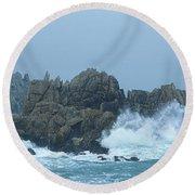 Lighthouse On An Island, Creach Round Beach Towel