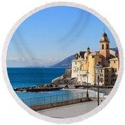 Liguria . Camogli Round Beach Towel