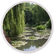 Lily Pond - Monets Garden Round Beach Towel