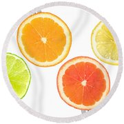 Lime Lemon Orange And Grapefruit Citrus Fruit Round Beach Towel