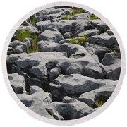 Limestone In The Burren Round Beach Towel
