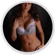Lingerie Beauty Round Beach Towel