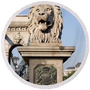 Lion Sculpture On Chain Bridge In Budapest Round Beach Towel