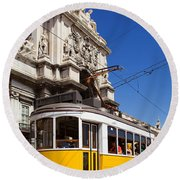 Lisbon's Typical Yellow Tram In Commerce Square Round Beach Towel