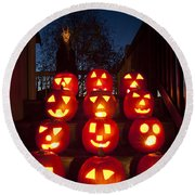 Lit Pumpkins With Demon On Halloween Round Beach Towel