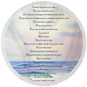 Live One Day At A Time Round Beach Towel