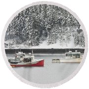 Lobster Boats After Snowstorm In Tenants Harbor Maine Round Beach Towel by Keith Webber Jr