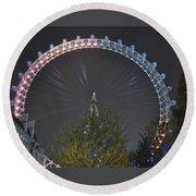 London Eye At Night Round Beach Towel