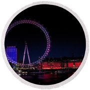 London Eye In Red White And Blue Round Beach Towel