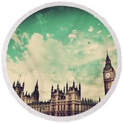 London Uk Big Ben The Palace Of Westminster Round Beach Towel