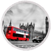 London Uk Red Bus In Motion And Big Ben Round Beach Towel