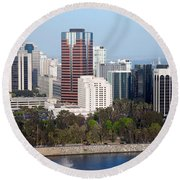 Long Beach Skyline Round Beach Towel