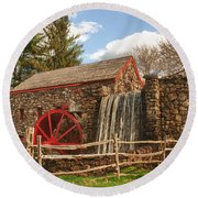 Longfellow's Wayside Inn Grist Mill Round Beach Towel