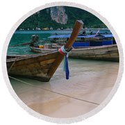 Longtail Boats Moored On The Beach Round Beach Towel