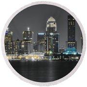 Night Lights Of Louisville Round Beach Towel