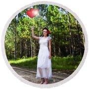 Love Heart Balloons  Round Beach Towel