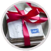 Love Letters Tied With Ribbon Round Beach Towel