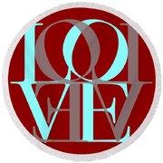 Love Typography Round Beach Towel
