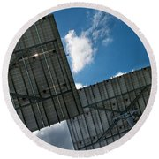 Low Angle View Of Solar Panels Round Beach Towel