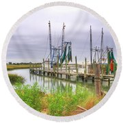 Lowcountry Shrimp Dock Round Beach Towel