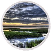 Cloud Reflections Over The Marsh Round Beach Towel
